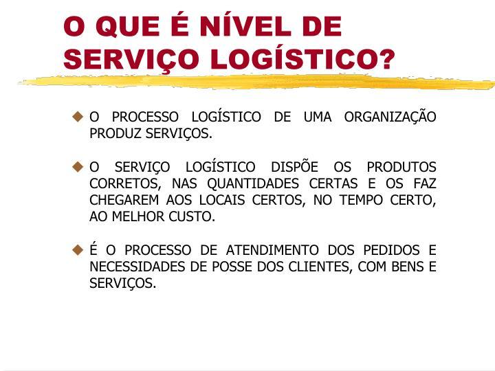 O PROCESSO LOGÍSTICO DE UMA ORGANIZAÇÃO PRODUZ SERVIÇOS.