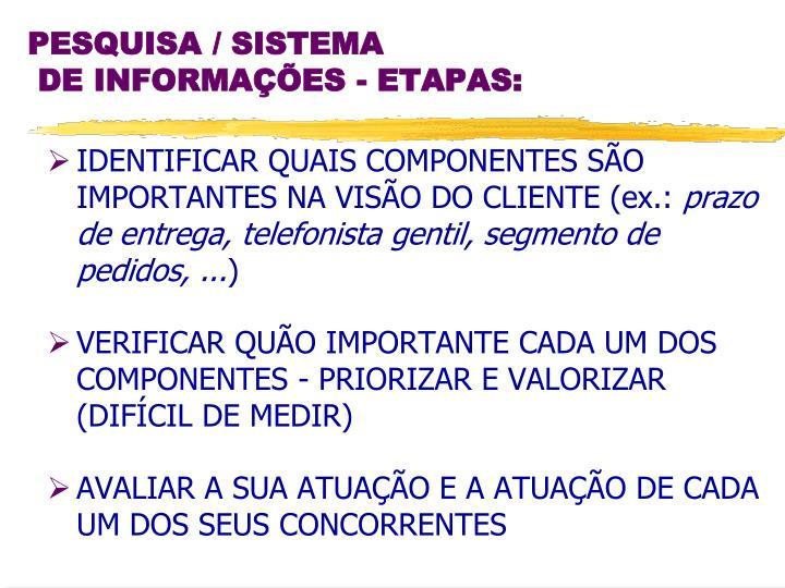 IDENTIFICAR QUAIS COMPONENTES SÃO IMPORTANTES NA VISÃO DO CLIENTE (ex.: