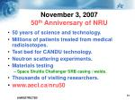 november 3 2007 50 th anniversary of nru