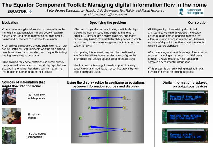 The Equator Component Toolkit: Managing digital information flow in the home