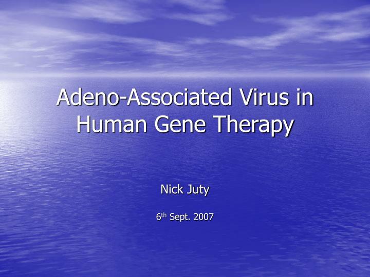 adeno associated virus in human gene therapy n.