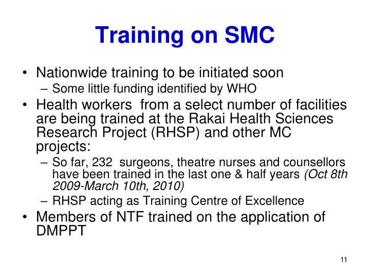 Training on SMC