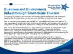 business and environment linked through small scale tourism