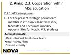 2 aims 2 3 cooperation within msc education
