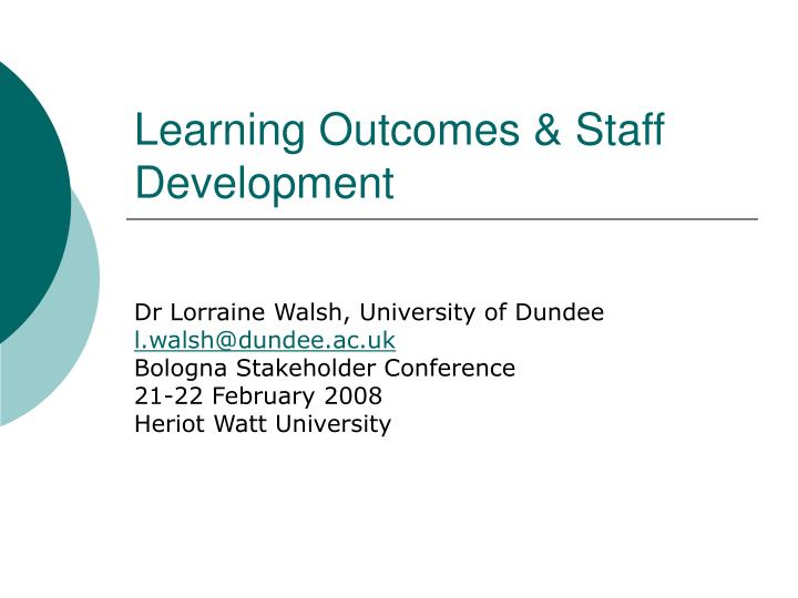 learning outcomes staff development n.
