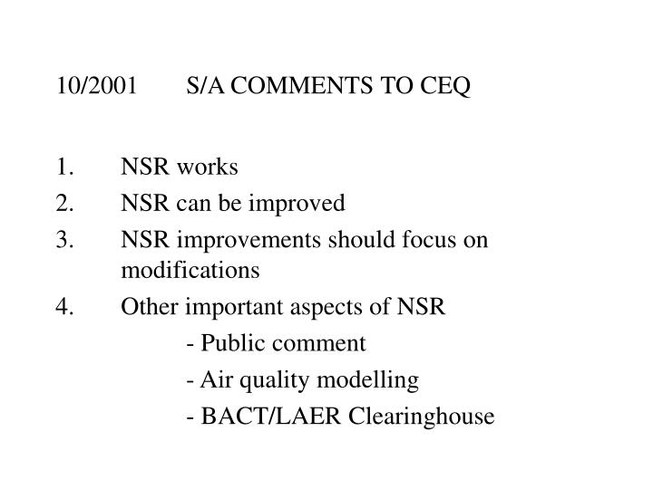10/2001S/A COMMENTS TO CEQ