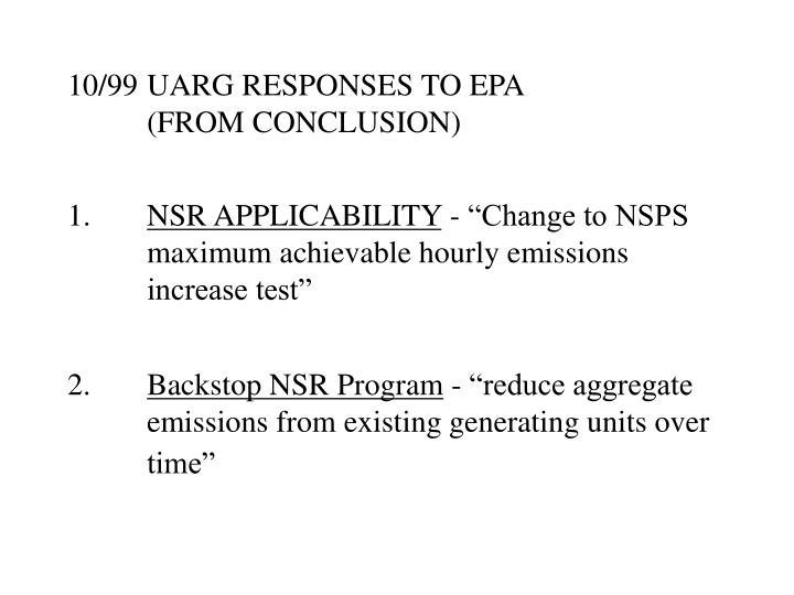 10/99UARG RESPONSES TO EPA