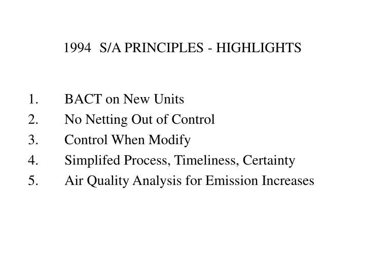 1994S/A PRINCIPLES - HIGHLIGHTS