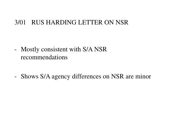 3/01RUS HARDING LETTER ON NSR