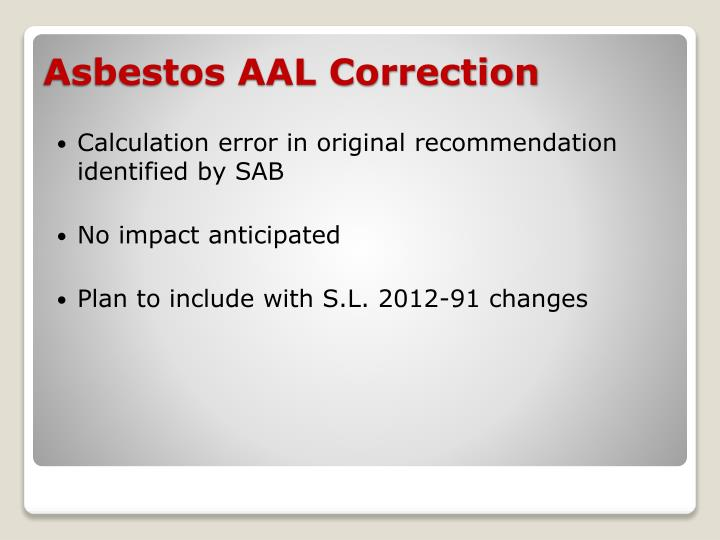Calculation error in original recommendation identified by SAB