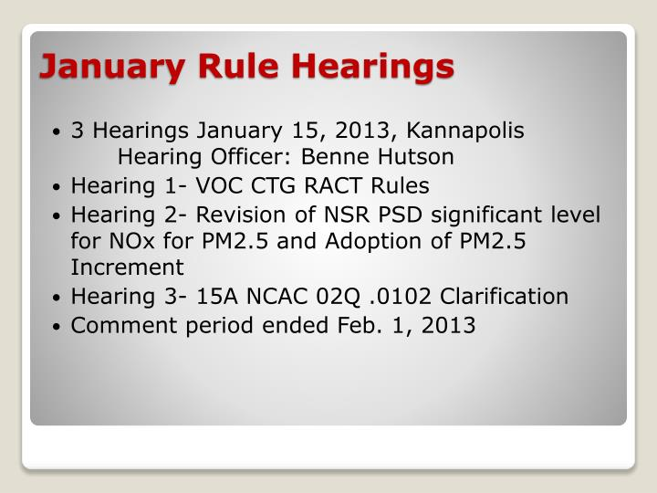 3 Hearings January 15, 2013, Kannapolis	Hearing Officer: Benne Hutson