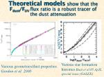theoretical models show that the f dust f uv flux ratio is a robust tracer of the dust attenuation