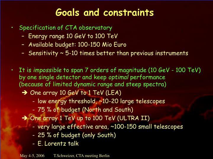 Goals and constraints