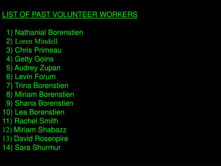 LIST OF PAST VOLUNTEER WORKERS