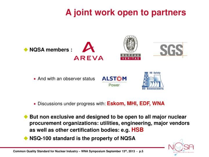 A joint work open to partners