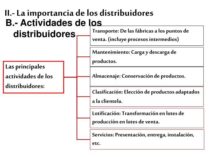 II.- La importancia de los distribuidores
