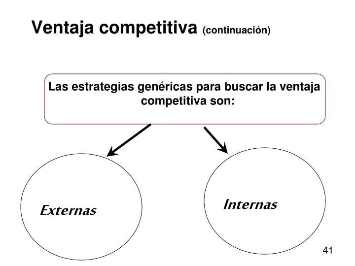 Las estrategias genéricas para buscar la ventaja competitiva son: