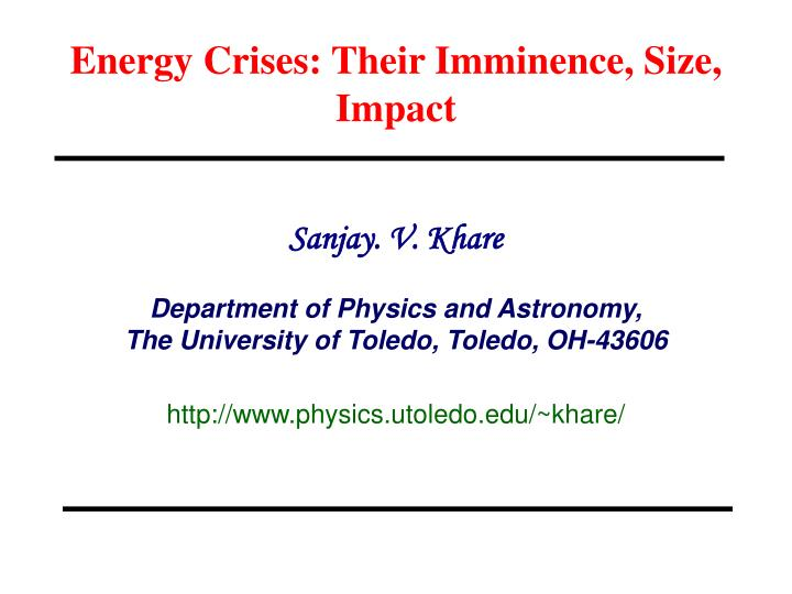 energy crises their imminence size impact n.