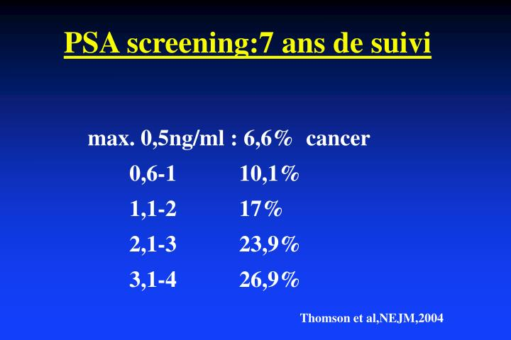 PSA screening:7 ans de suivi