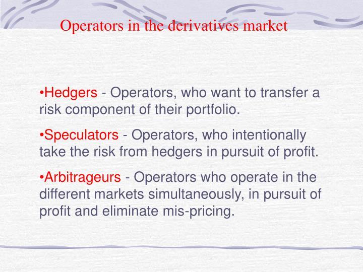Operators in the derivatives market