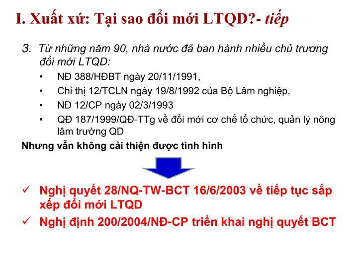 I. Xuất xứ: Tại sao đổi mới LTQD?-