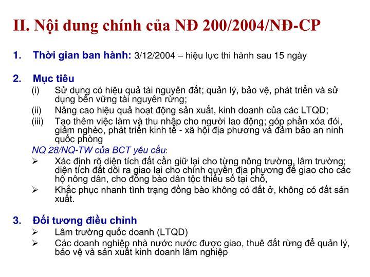 II. Nội dung chính của NĐ 200/2004/NĐ-CP