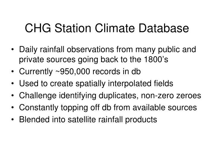 CHG Station Climate Database