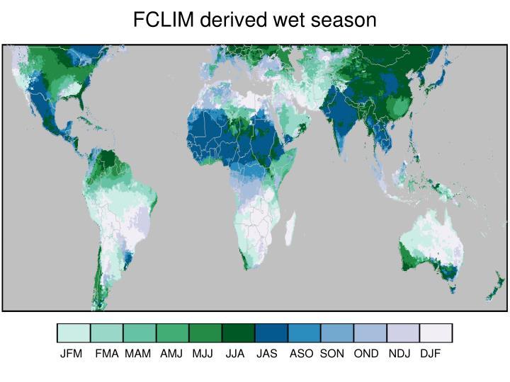 FCLIM derived wet season