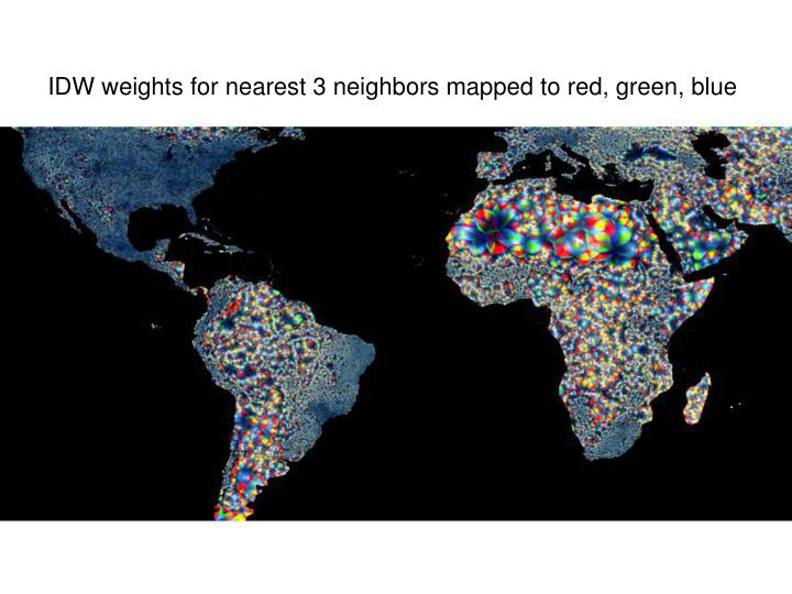 IDW weights for nearest 3 neighbors mapped to red, green, blue