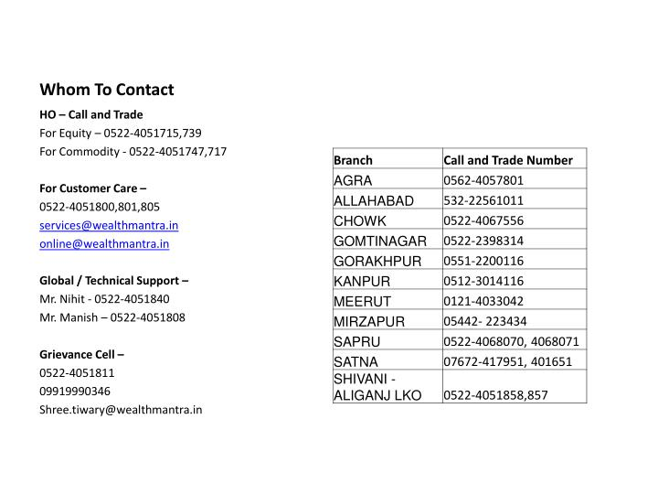 Whom To Contact