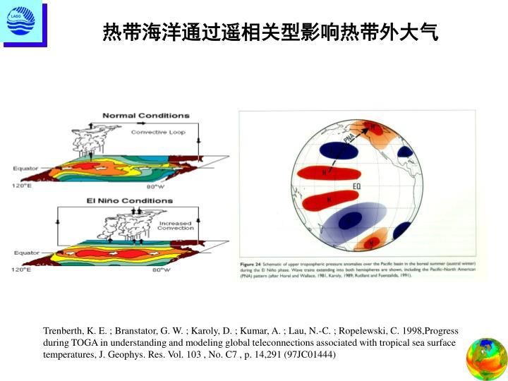 热带海洋通过遥相关型影响热带外大气