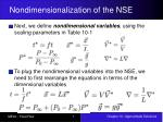 nondimensionalization of the nse2