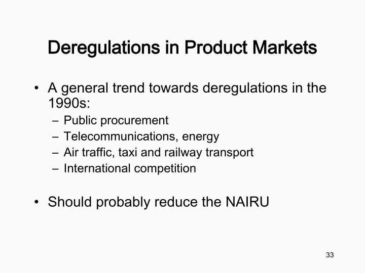 Deregulations in Product Markets
