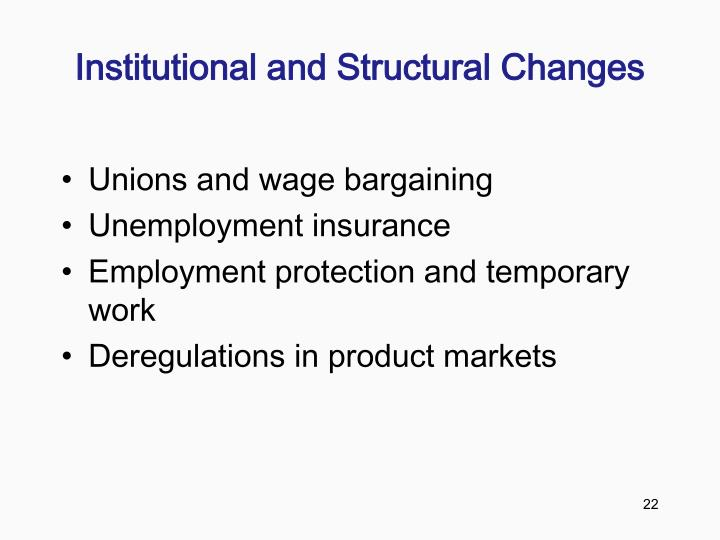 Institutional and Structural Changes