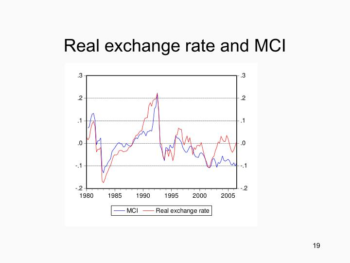 Real exchange rate and MCI
