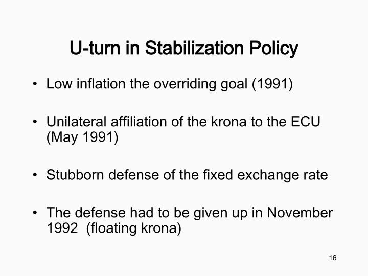 U-turn in Stabilization Policy