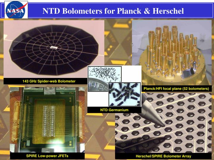 NTD Bolometers for Planck & Herschel