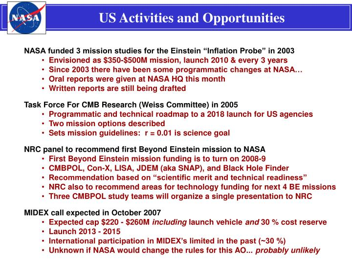 US Activities and Opportunities