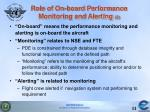 role of on board performance monitoring and alerting 3