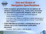 use and scope of navigation specifications