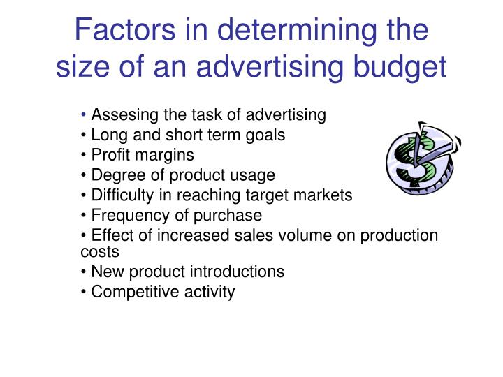 Factors in determining the size of an advertising budget