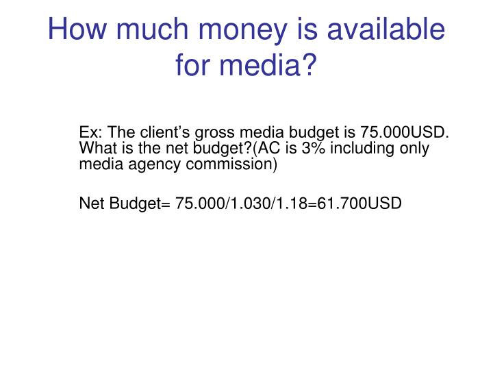 How much money is available for media?