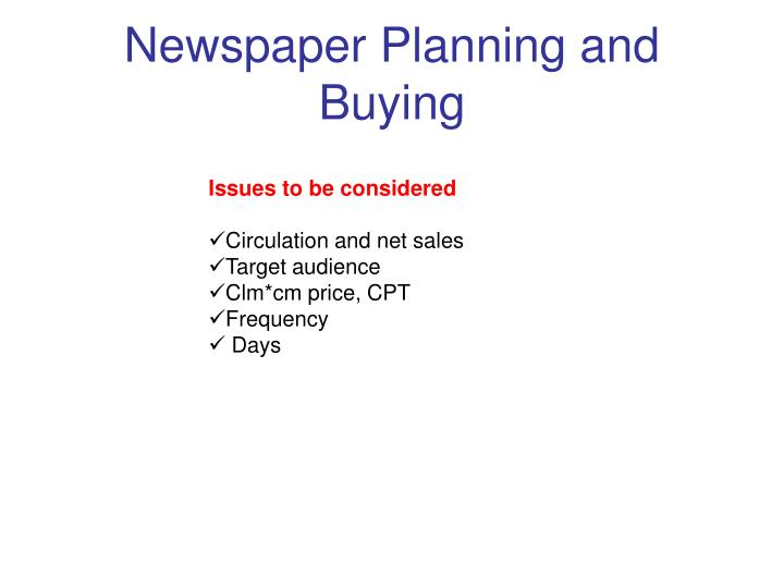 Newspaper Planning and Buying