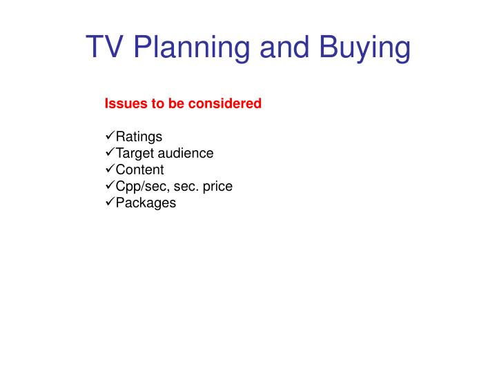 TV Planning and Buying