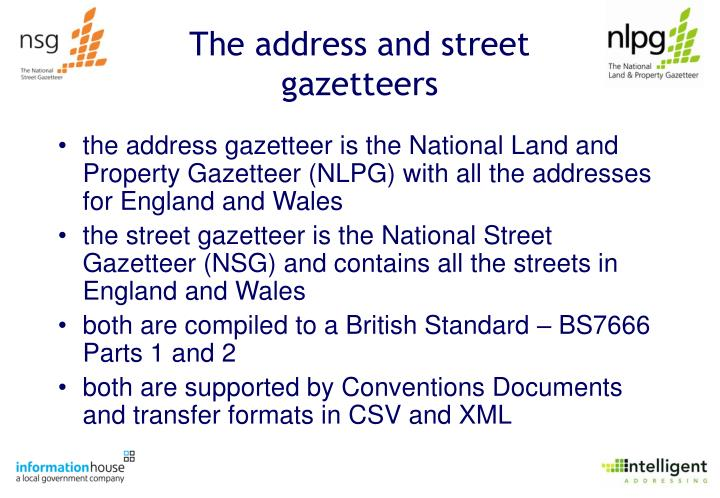 The address and street gazetteers