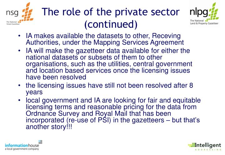 The role of the private sector (continued)