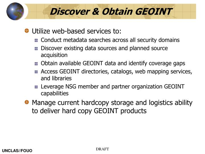 Discover & Obtain GEOINT