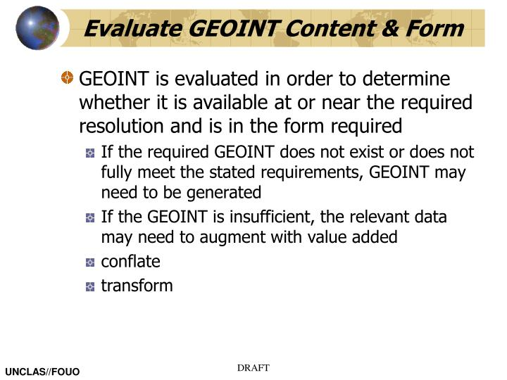 Evaluate GEOINT Content & Form