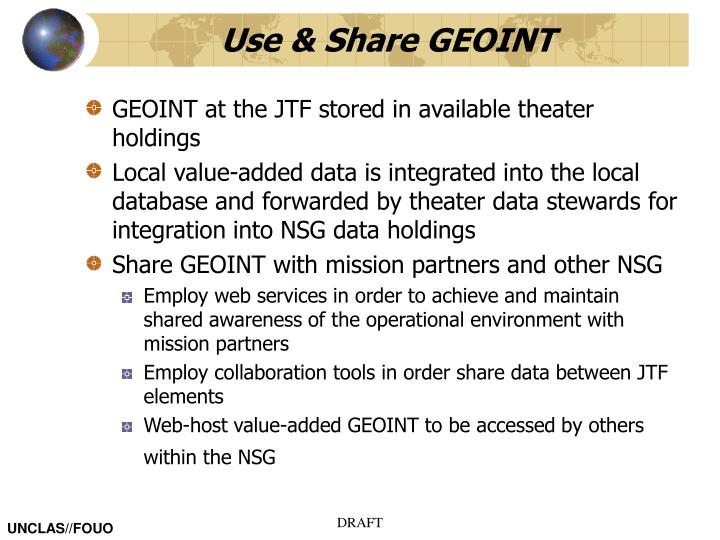Use & Share GEOINT