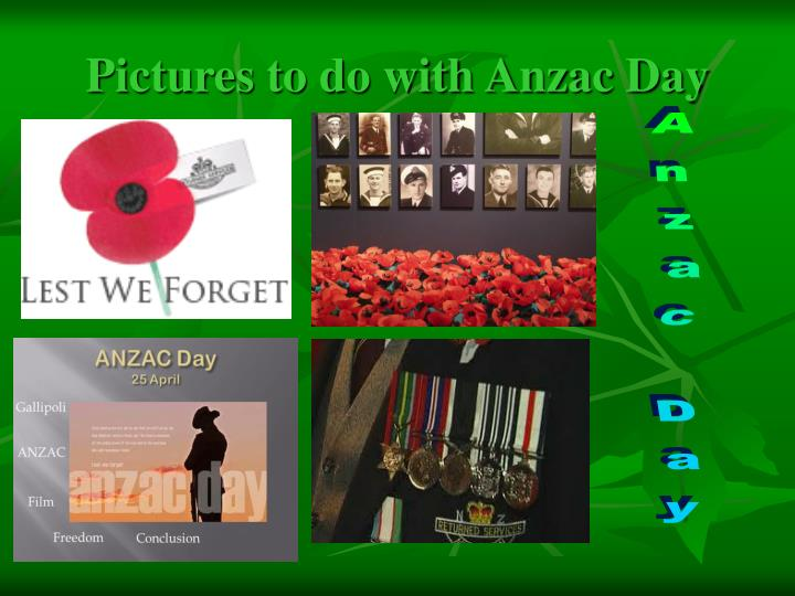 Pictures to do with Anzac Day
